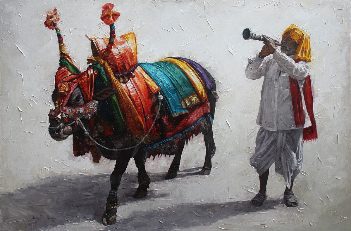 Gangireddu 06 By Iruvan Karunakaran Realism Painting Acrylic On