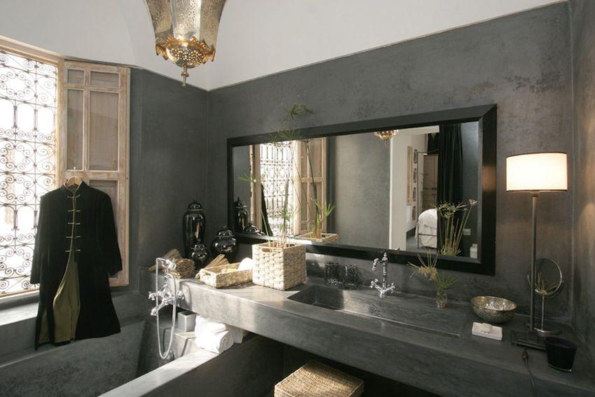 Bagno Legno E Grigio : Bagno grigio e legno : arredi beidge e pavimento grigio effetto