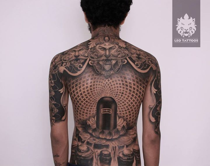 ravan ravana shiva shivling tenheads patterns blackandgrey backtattoo backpiece tattoo. Black Bedroom Furniture Sets. Home Design Ideas