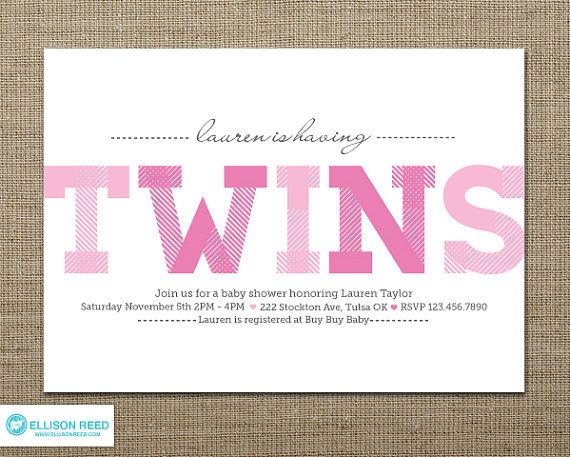 Twins Baby Shower - Twins Baby Shower Invitation - Twin Girls - printable baby shower invite