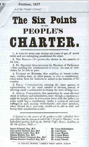 Chartism 1 A Group Of Reformers Who Issued The Six Points Of The