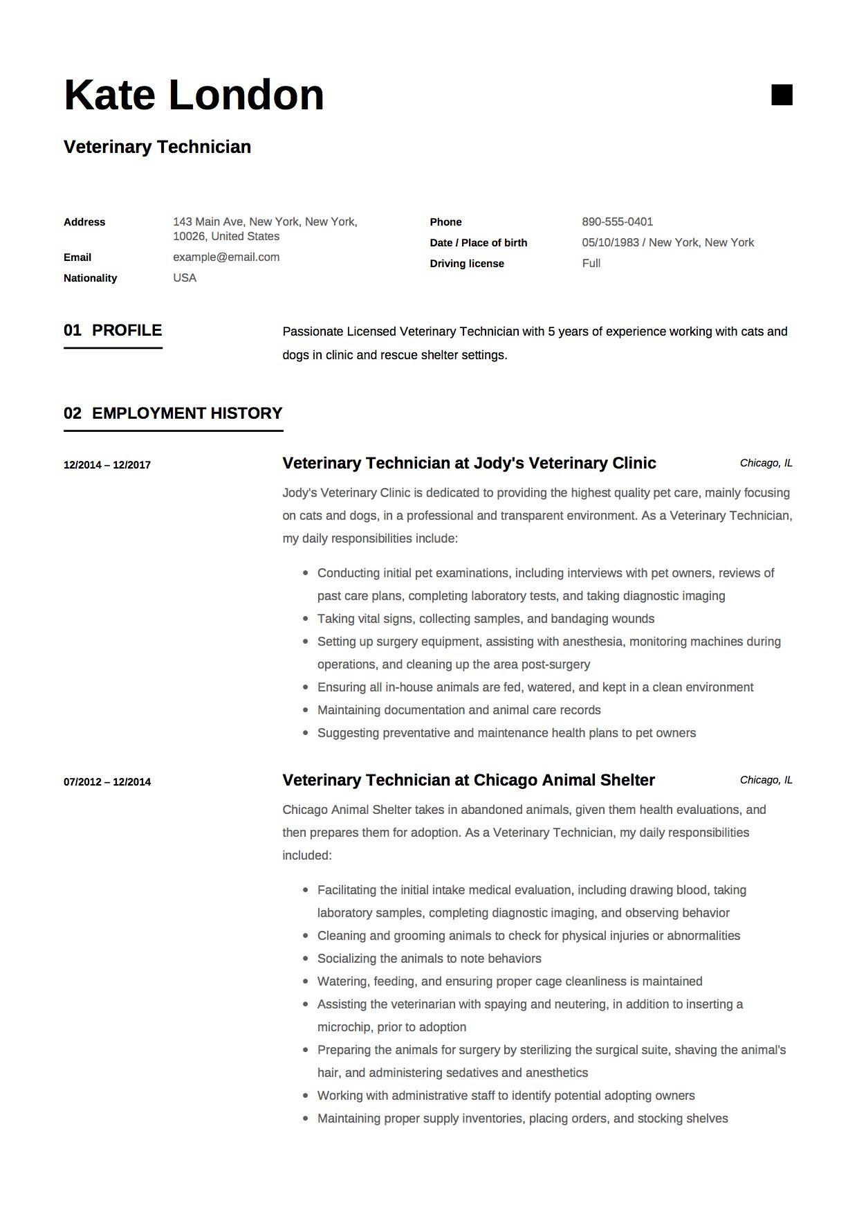 Guide Veterinary Technician Resume [+ 12 Samples