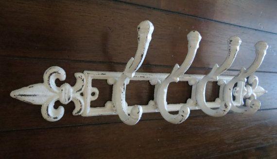 Wall Hook Towel Coat Rack Antique White Cast Iron Fleur De Lis Design Shabby Chic Metal On Etsy 28 99