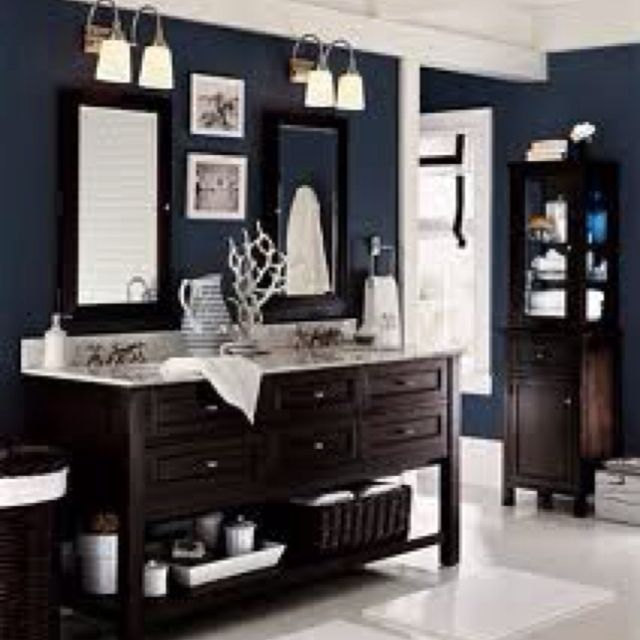 Navy Blue Bathroom Love The Balance Of Warm Wood And White Accents To The Dark Navy Paint Home Easy Bathroom Makeover Interior