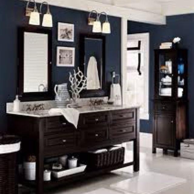 Salle De Bain Bleu Marine : Dark Blue and White Bathroom