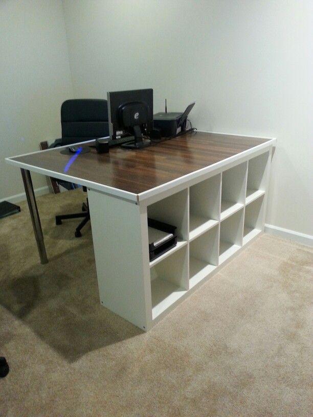 Ikea Hack Office Desk Using Ikea Table Legs And Kallax Shelfing