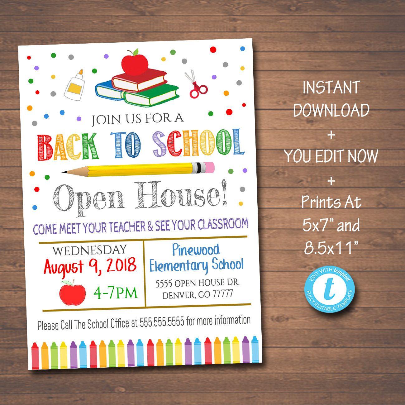 Editable School Open House Flyer Printable Pta Pto Flyer Etsy In 2021 School Open House School Opening School Fundraisers