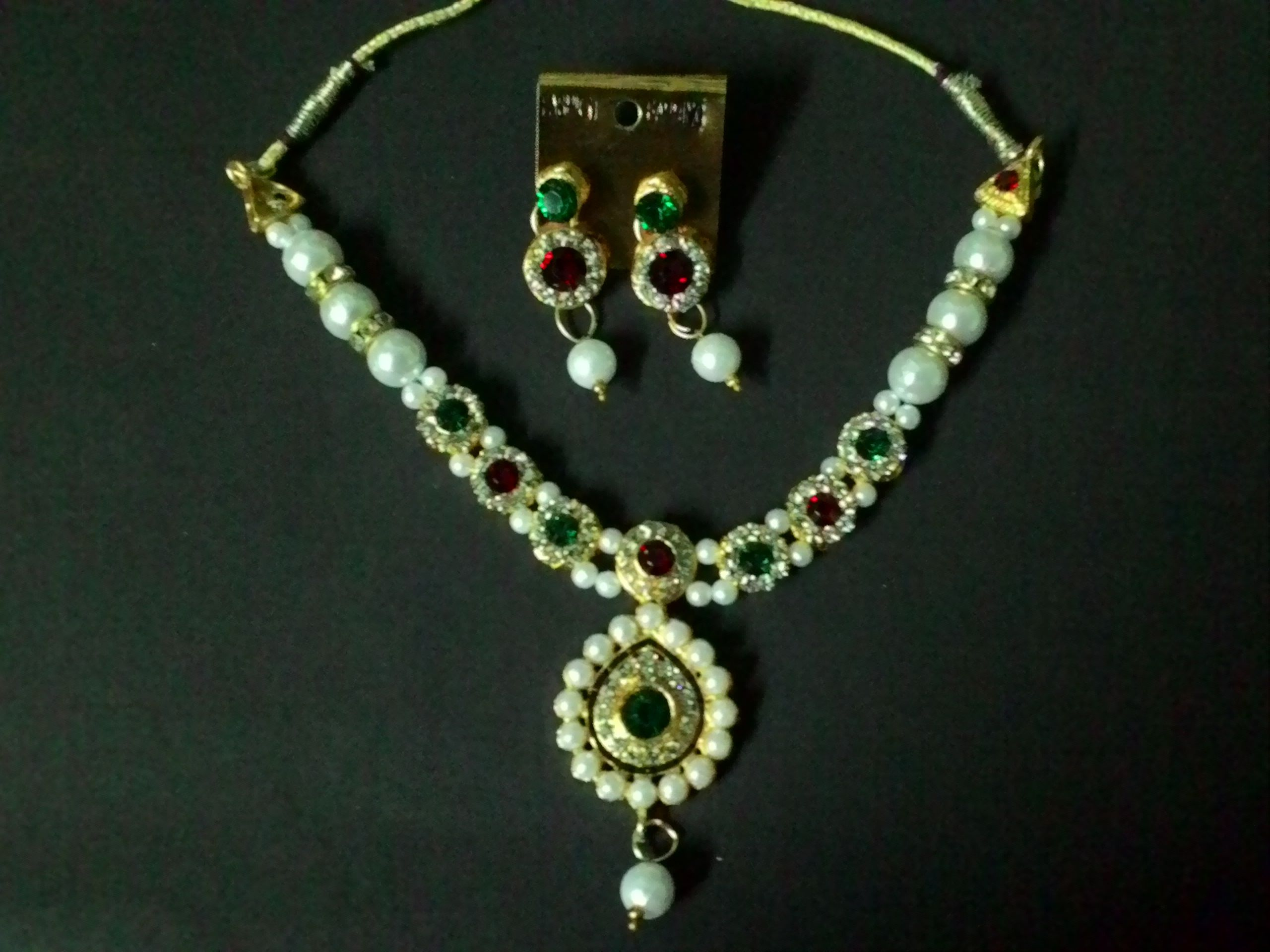 Traditional multicolor pearl necklace set online shopping