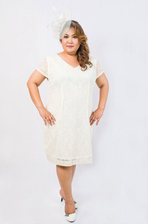 plus size lace dress in off white by ksyplus on etsy, $55.00