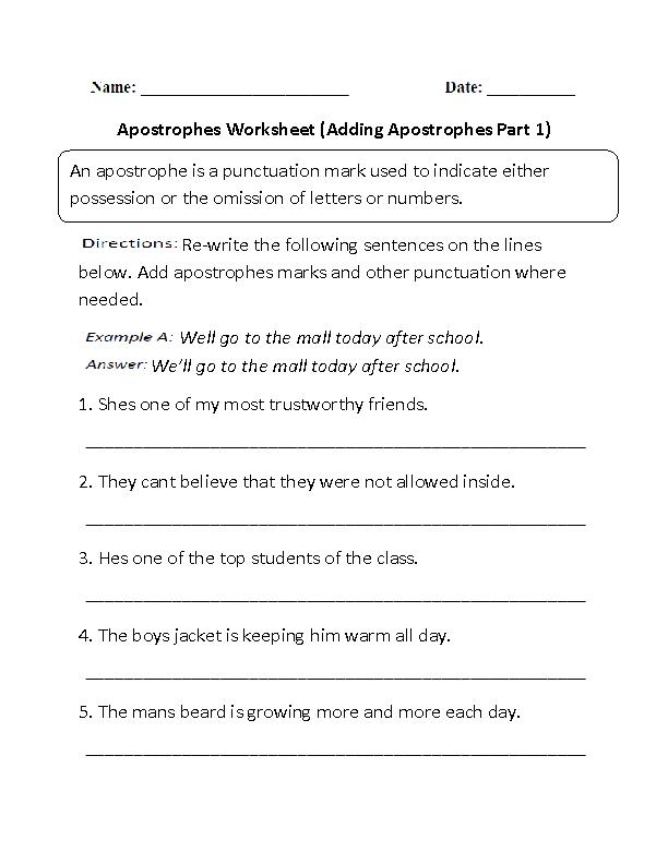 Adding Apostrophes Worksheets Worksheet Part 1