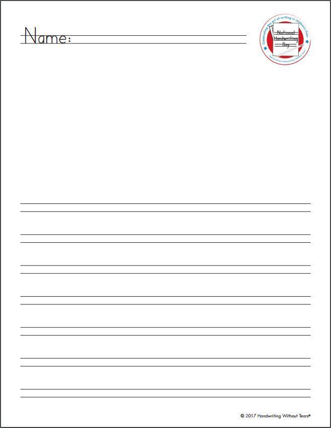 National Handwriting Day 2-3 Grade Activity Page