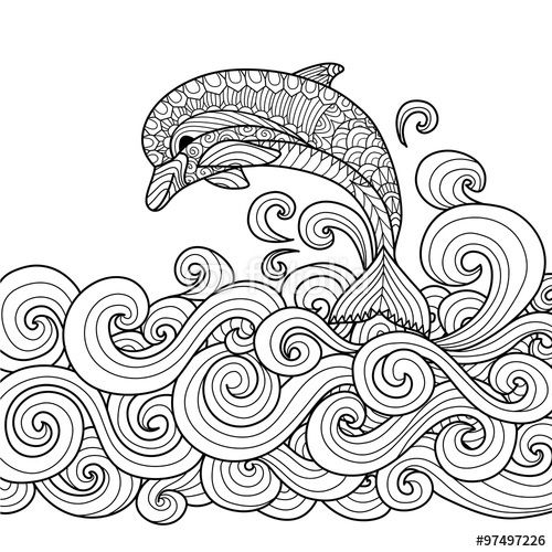 Vector Hand Drawn Zentangle Dolphin With Scrolling Sea Wave For Coloring Book Adult