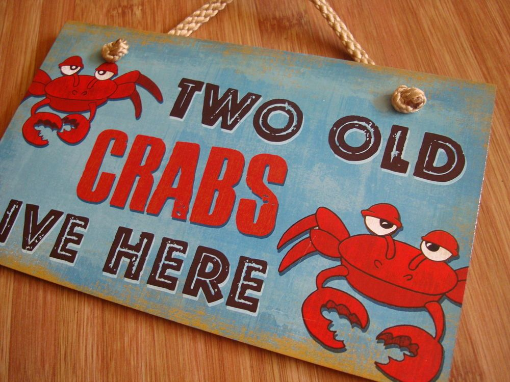 TWO OLD CRABS LIVE HERE Nautical Blue & Red Beach Seafood