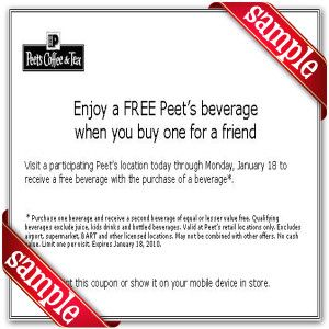 image about Peet Coffee Printable Coupon identified as Peets Espresso Tea Printable Coupon December 2016 Discount codes