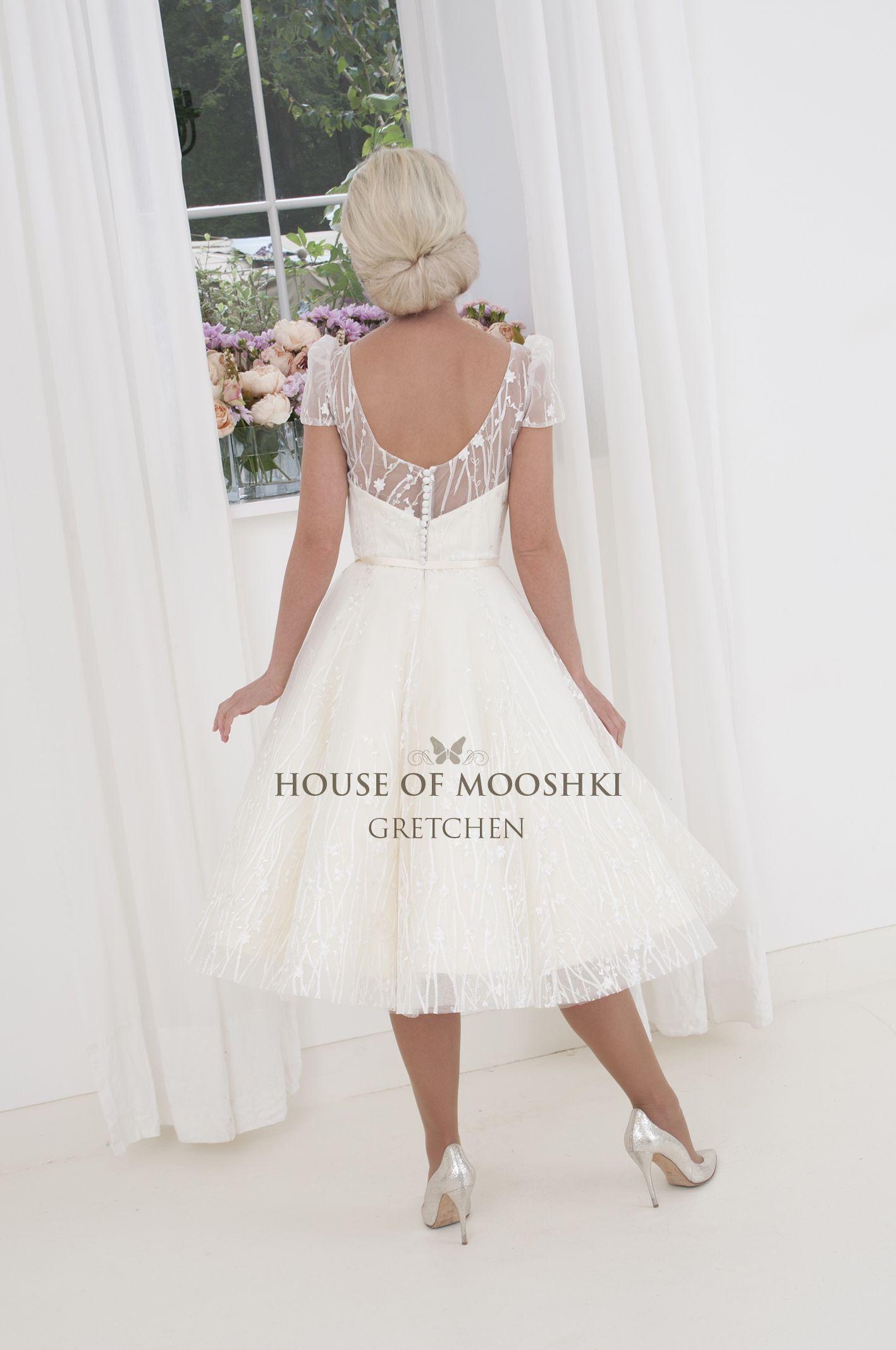 Gretchen perfect little cuteypie tea length wedding dress with