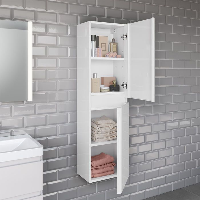 95 19 1400mm Denver Ii Gloss White Tall Storage Cabinet Wall Hung Wall Mounted Bathroom Cabinets Kitchen Cabinets In Bathroom Tall Cabinet Storage