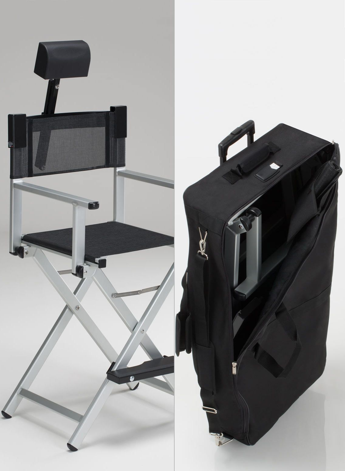 Aluminum Makeup Chair Set With Headrest And Trolley Bag In