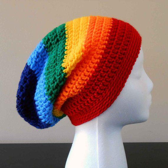 LGBT Gay Pride Rainbow Slouchy Hat - Rainbow Beanie - Slouch Hat ...