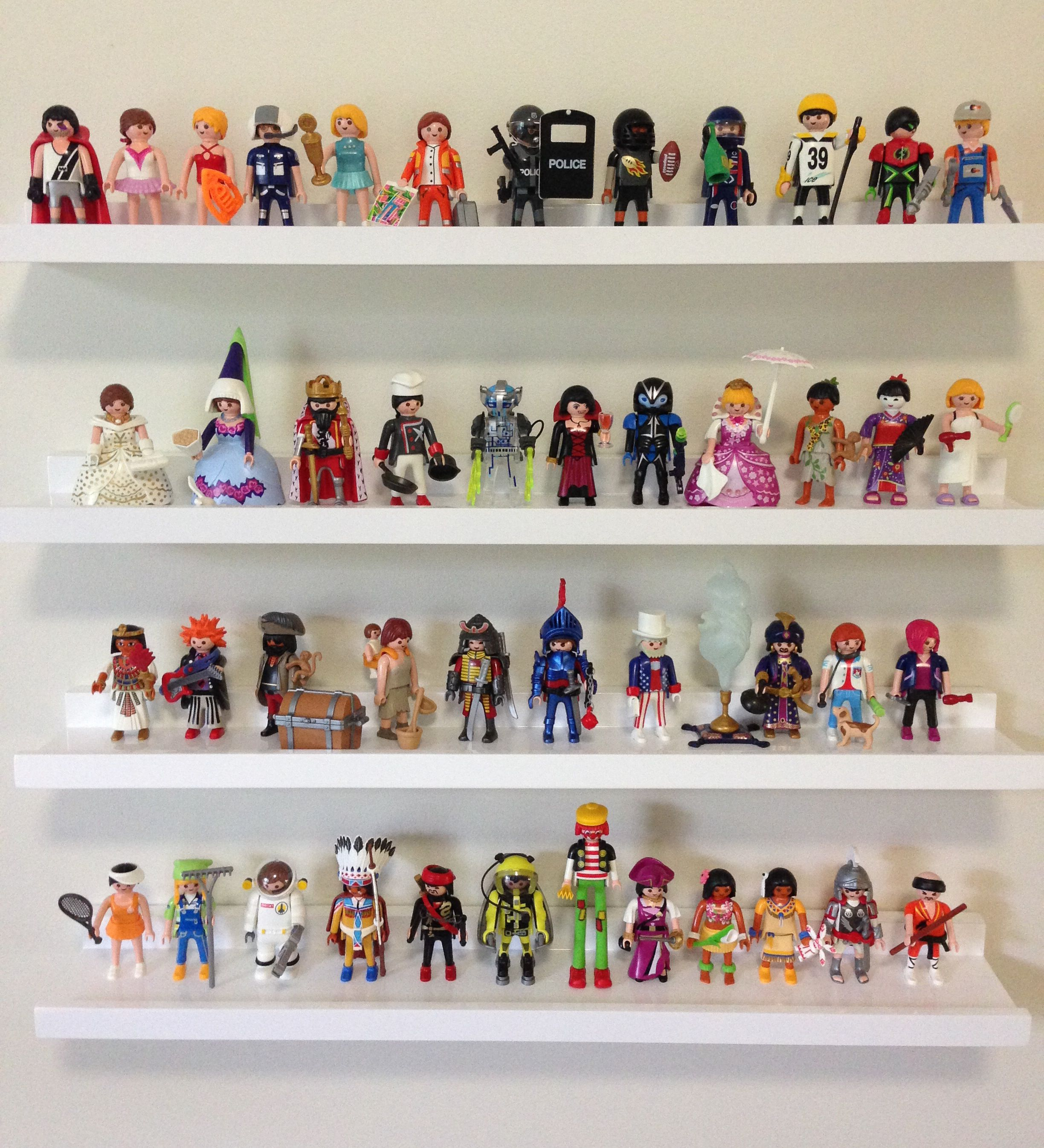 Shelves to display Playmobil figures. Playmobil