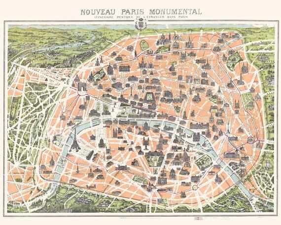 Vintage Paris Map 1900, Giclee, Print, Antique Map Print, Map Art