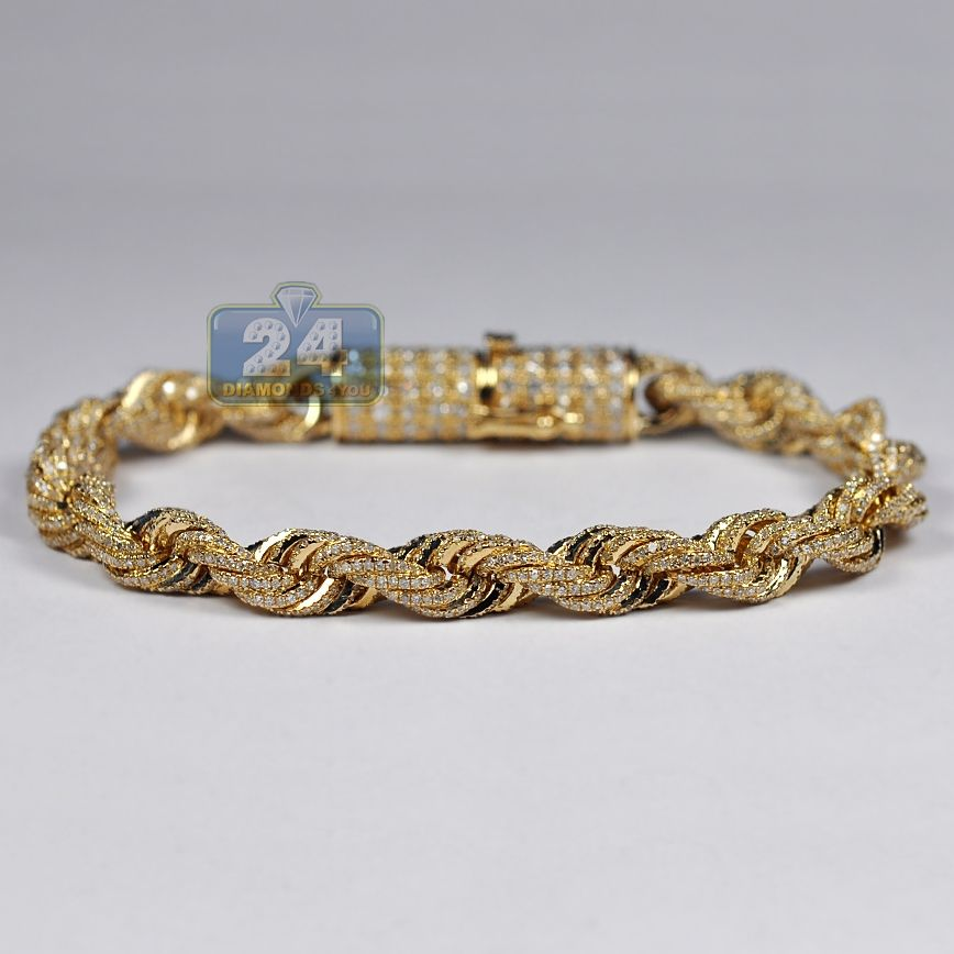 Mens Diamond Rope Bracelet Solid 10k Yellow Gold 8 12 Ct 7 Mm 8 Mens Gold Bracelets Bracelets For Men Rope Bracelet Men