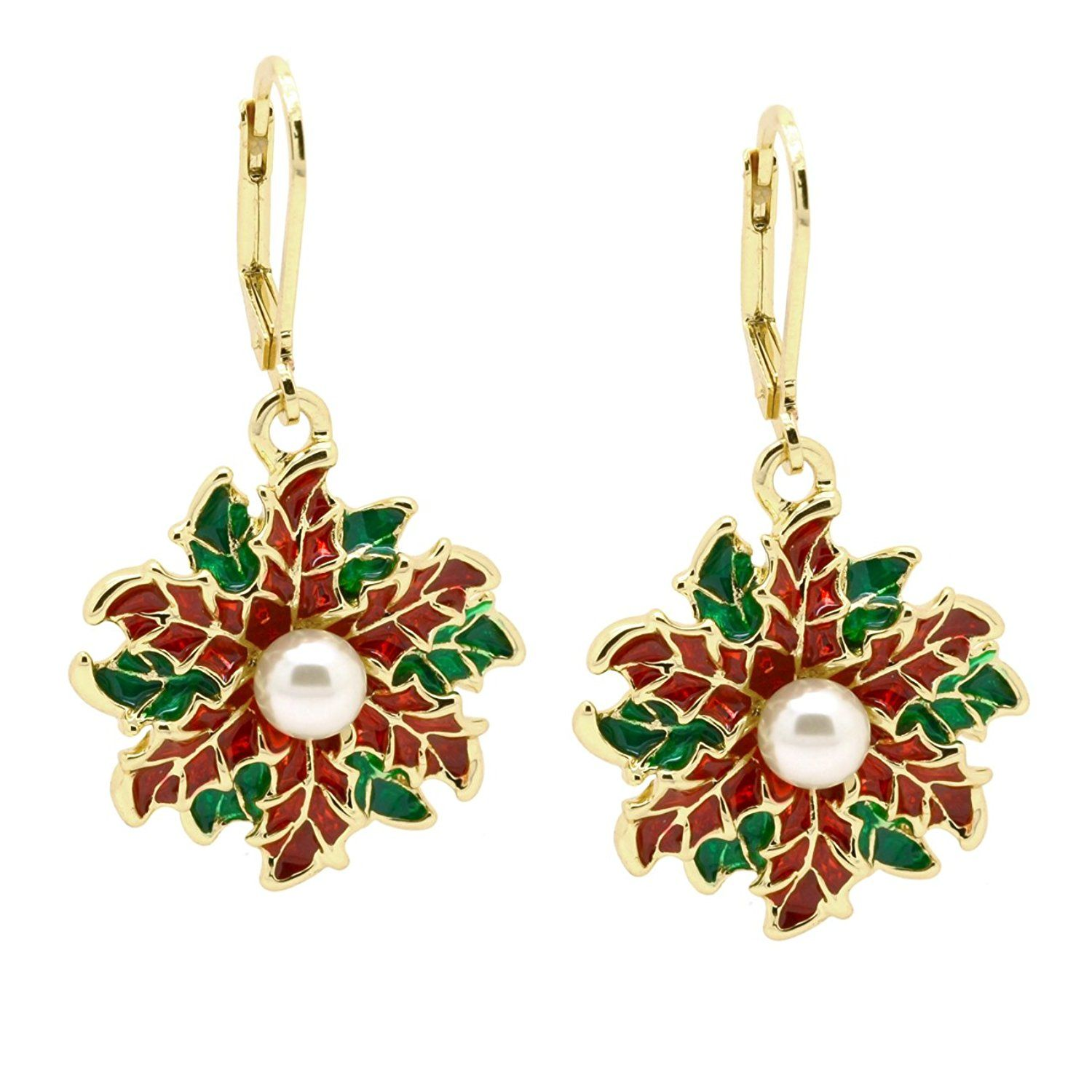 Poinsettia jewelry set christmas red green simulated pearl pendant