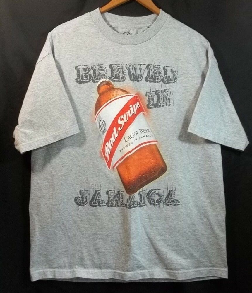 Red Stripe Lager Beer Tshirt Gray Xl Brewed In Jamiaca Front And Back Graphics Redstripe Graphictee Beer Tshirts Lager Beer Long Sleeve Tshirt Men