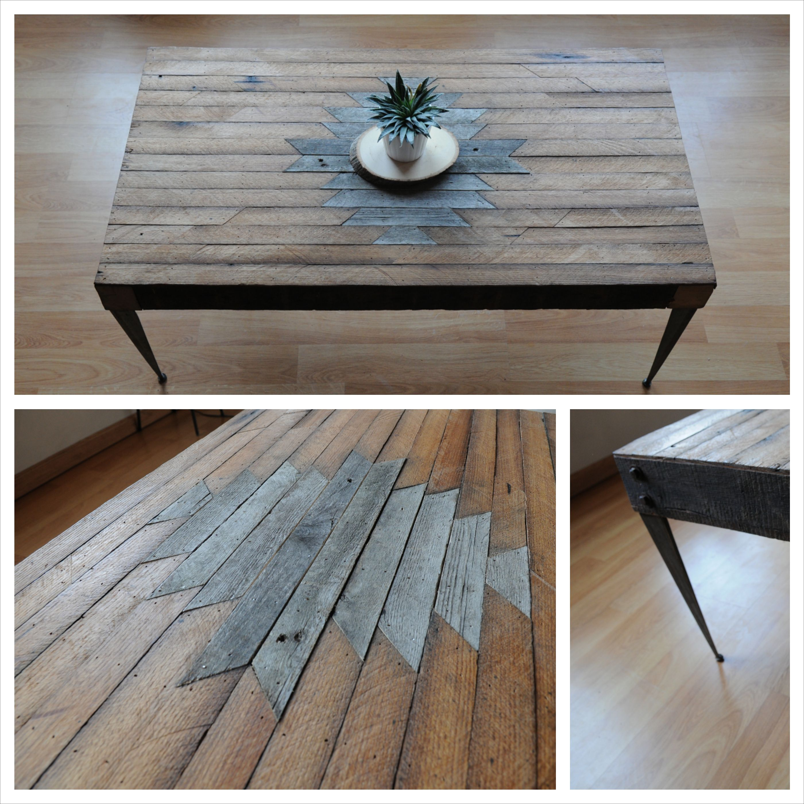 Coffee Table With A Fun Navajo Design Using 4x4 S And Steel
