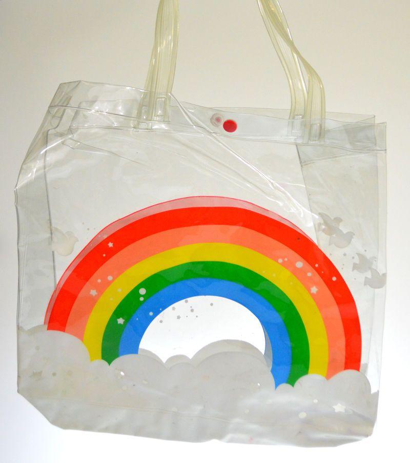 Vintage Girls Clear Vinyl Purse Handbag Rainbow Birds 70s 80s Retro PVC Tote #Unbranded #TotesShoppers