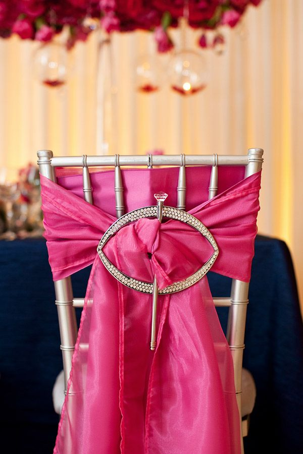 Hot Pink Silver And Navy Adorable Party Chair Decorations