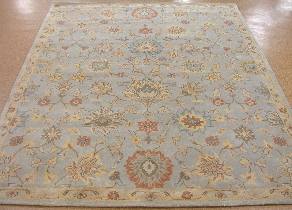 Hand Tufted Persian Style Wool Blue