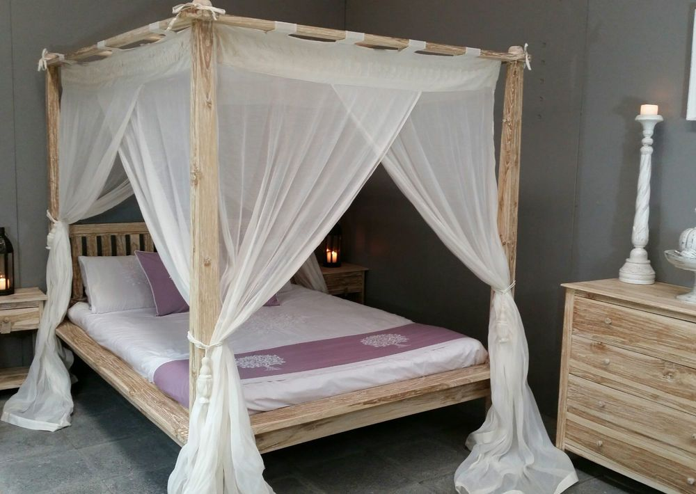 Balinese Rumple Four Poster Bed Canopy Muslin Mosquito Net 185 X