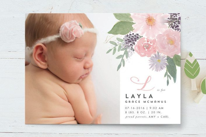 Soft Watercolor Floral Birth Announcements Minted Birth