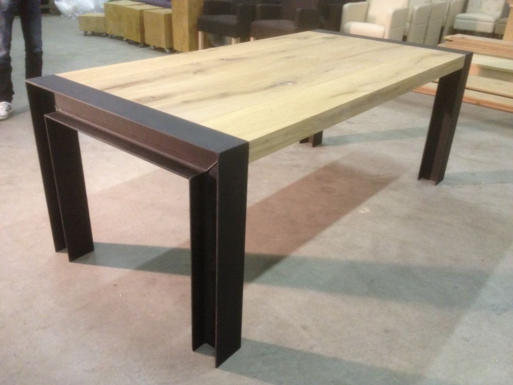 Eettafel h staal eettafels staal kaldenbach meubels steel wood