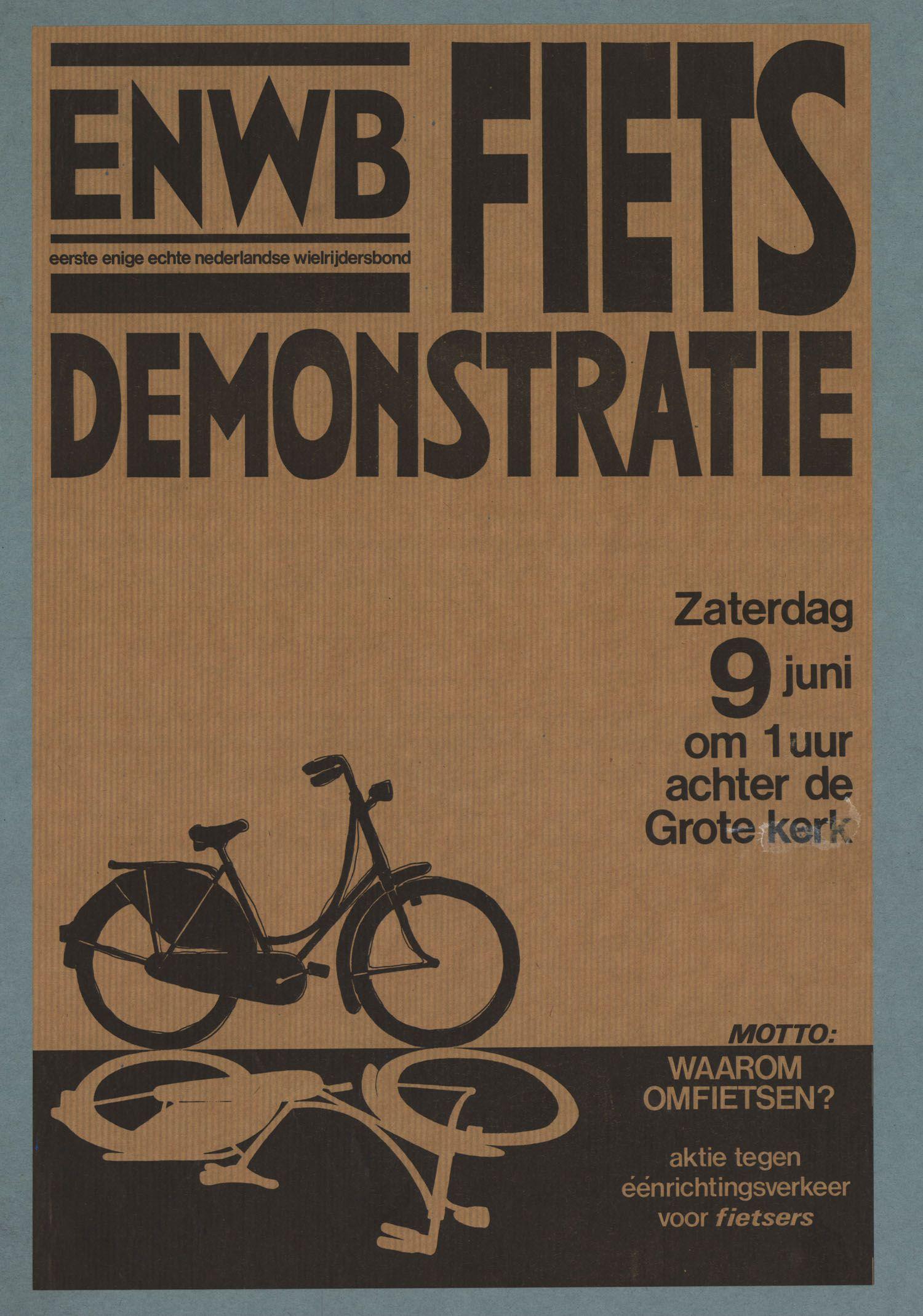 Fietsdemonstratie Tegen Eenrichtingsverkeer Voor Fietsers Oude Reclame Poster Advertenties