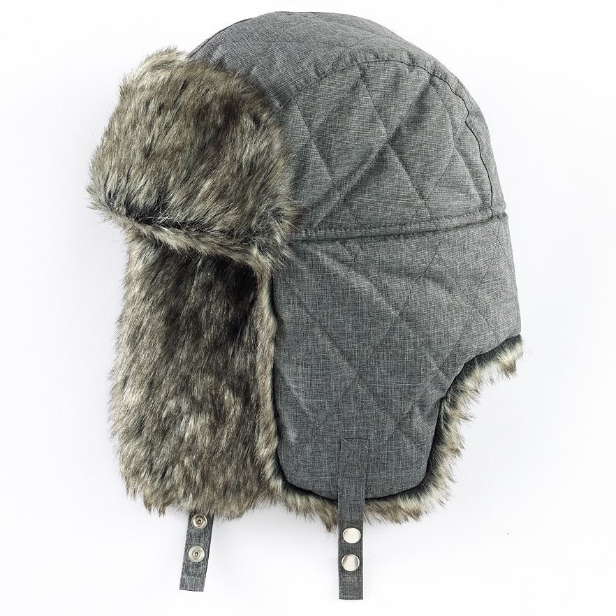 a0c0864373b Mens Trapper Hat - Tech Fabric (Grey) Apt. 9 Winter Warm NWT One Size fits  Most