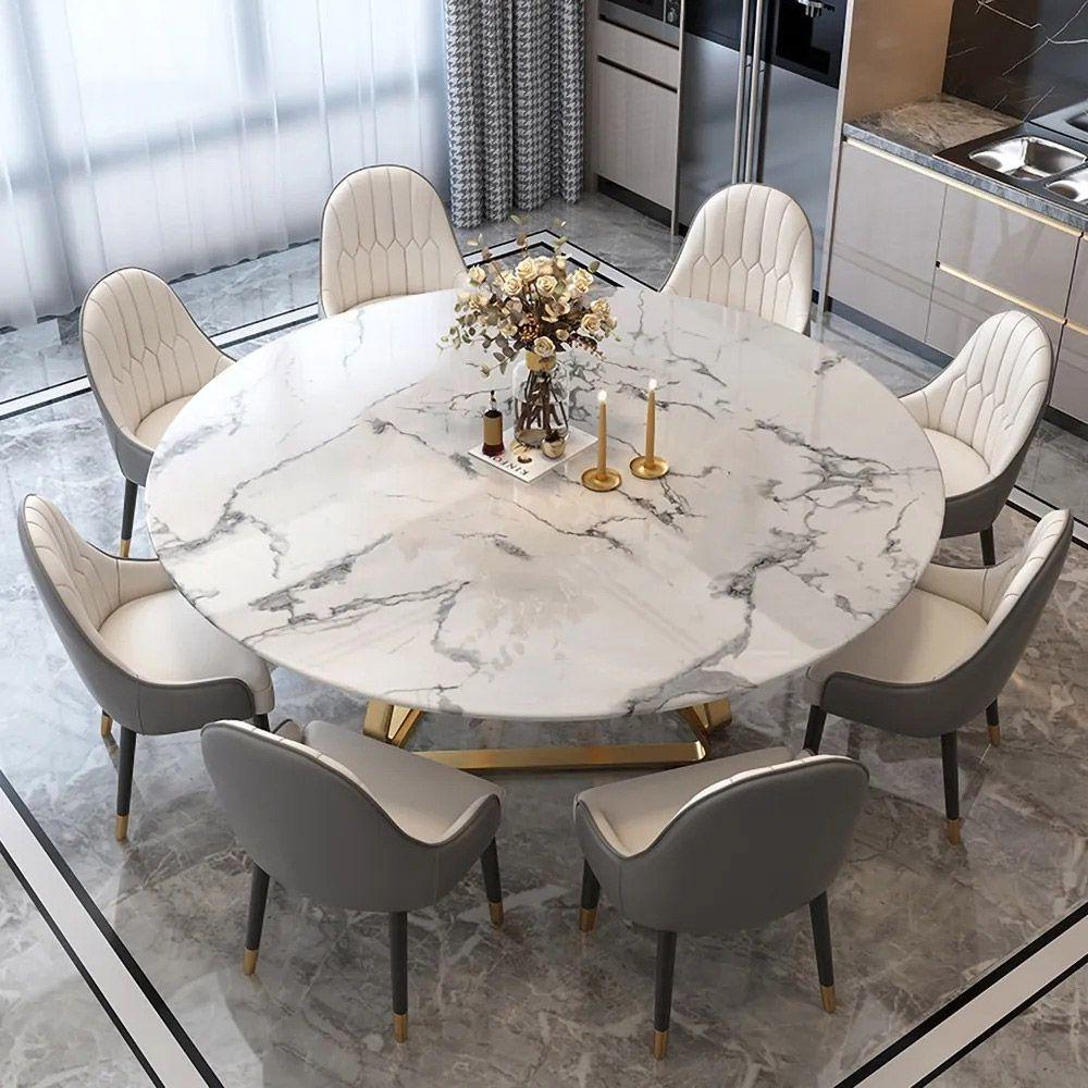 Moderner runder Esstisch Kunstmarmor in Weiß mit Edelstahlfuß