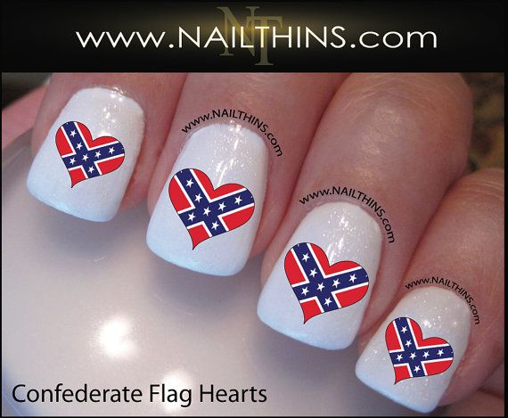rebel flag Nail Designs | Flag Heart Nails Select an option Confederate  Hearts [$3.50] - Rebel Flag Nail Designs Flag Heart Nails Select An Option