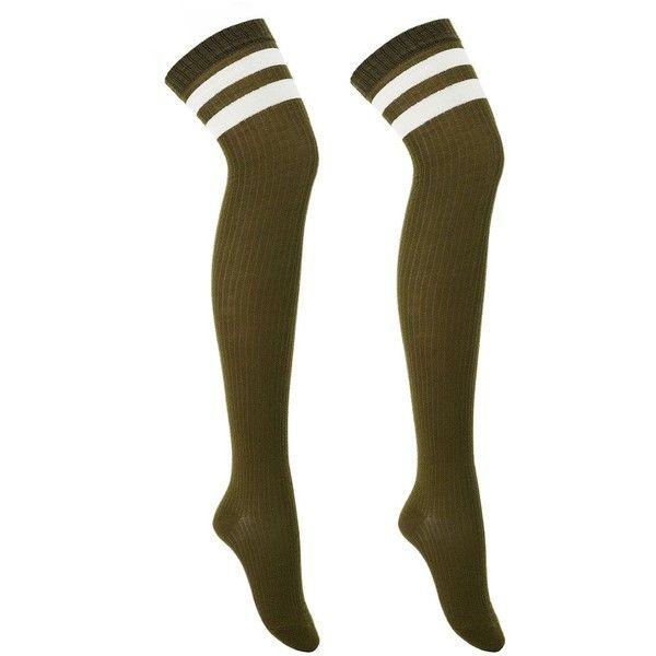 Charlotte Russe Varsity Stripe Thigh-High Socks ($4) ❤ liked on Polyvore featuring intimates, hosiery, socks, olive combo, charlotte russe, knit socks, thigh high hosiery, thigh high knit socks and olive green socks