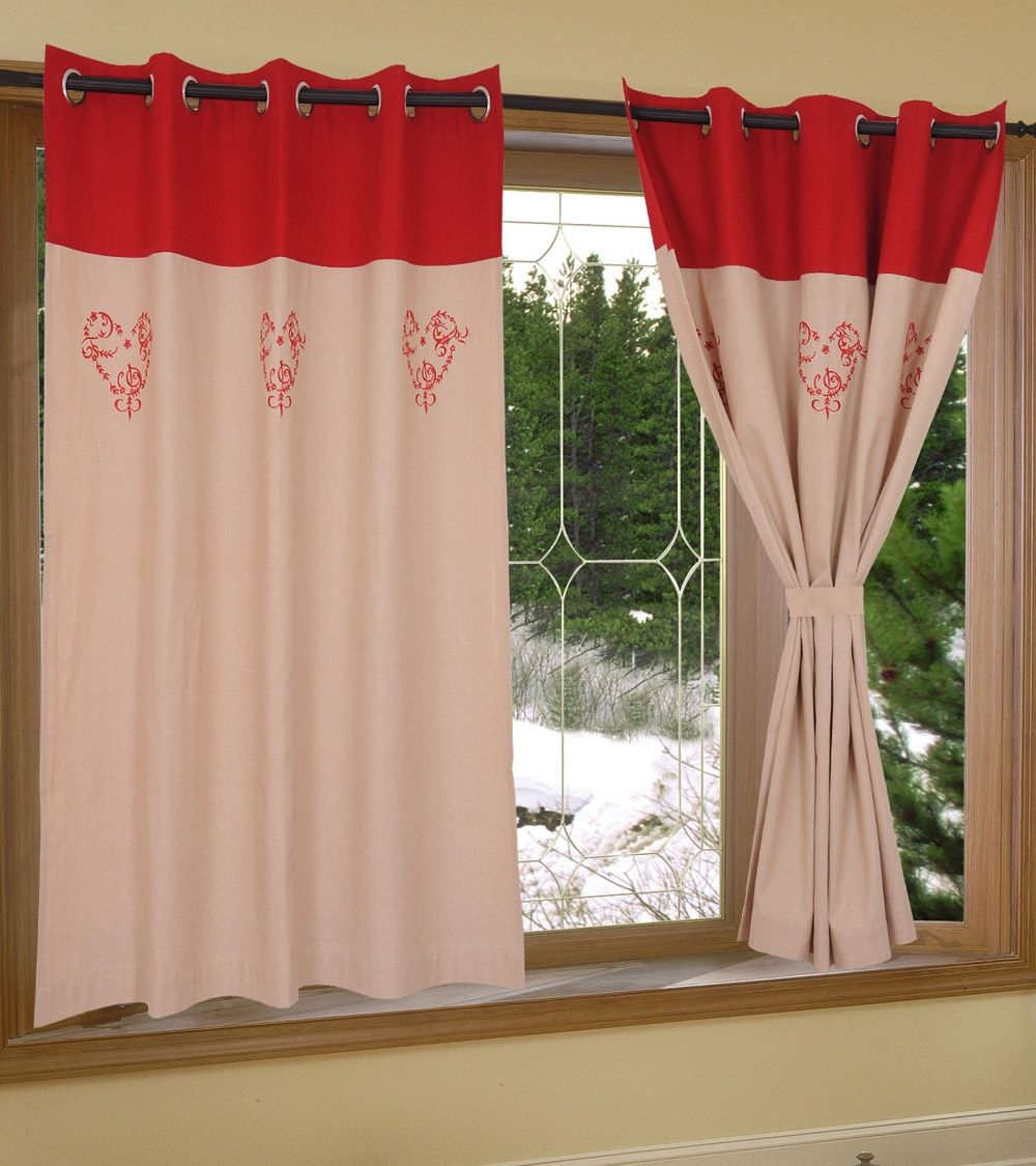 Red Cotton Embroidered Window Curtain #indianroots #homedecor #curtain #windowcurtain #cotton #embroidered