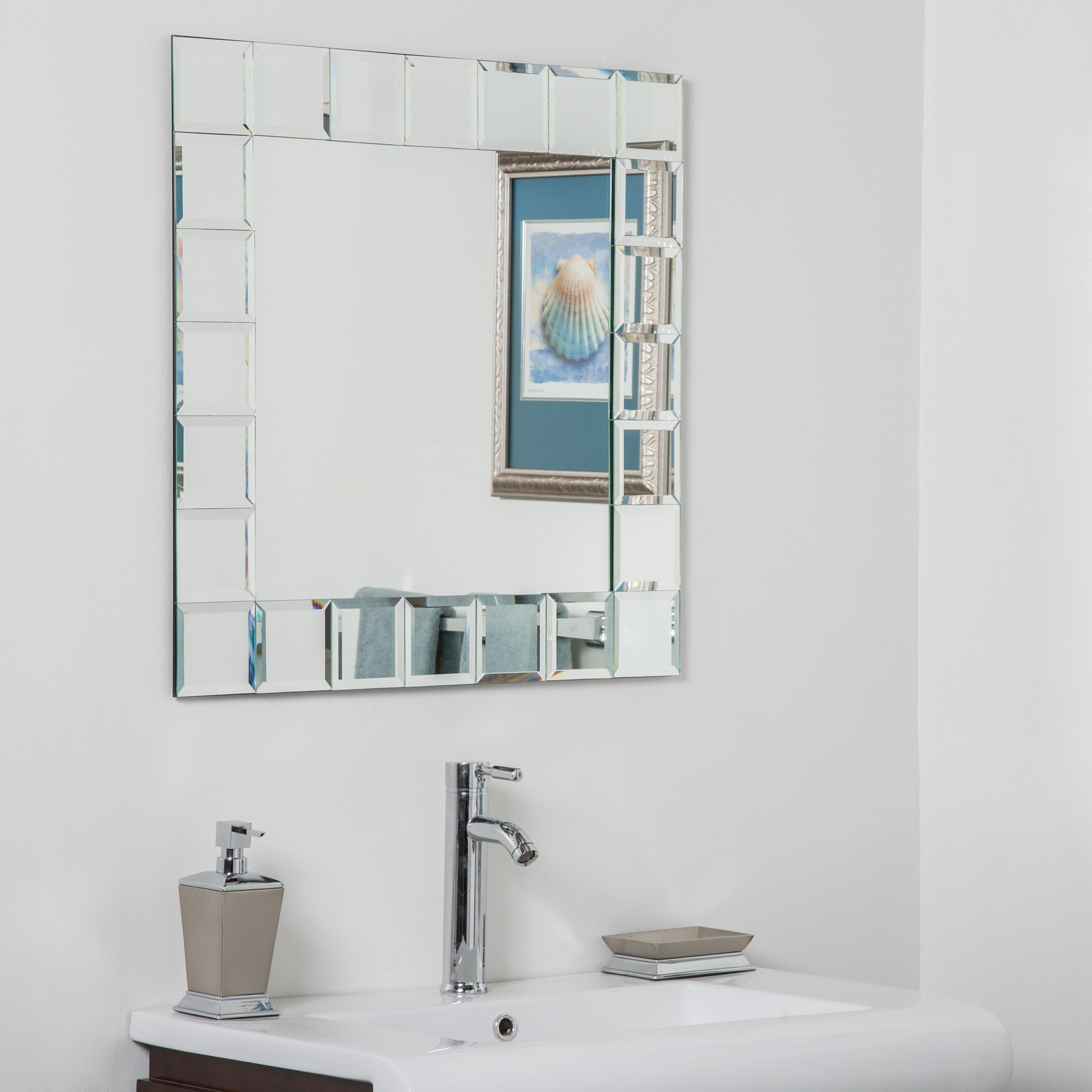 Montreal Square Bathroom Mirror Silver 27 5hx27 5wx 5d Montreal Square Bathroom Mirror Decor Wonderland Modern Bathroom Mirrors Rustic Wall Mirrors Mirror Makeover