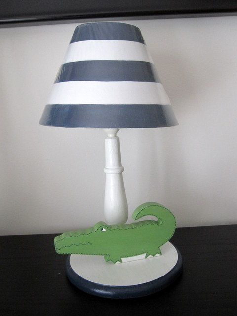 Alligator Lamp Baby Wooden Kids Childrens Room Madras Bedding Set 99 00 Via Etsy