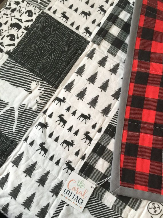 Our Woodland Quilt Is Perfect For Your Little Woodsman Black And White Front With A Red Buffalo Plaid Woodland Baby Quilt Baby Quilts Baby Boy Quilt Patterns