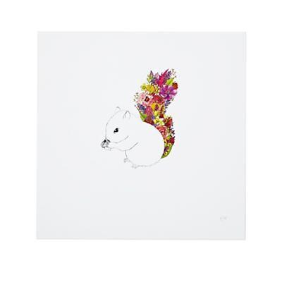 Squirrel, Flowers by Katie Vernon