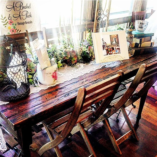 Austin Farm Table, Wooden Chairs and other decor from Crestwood Bridal Show