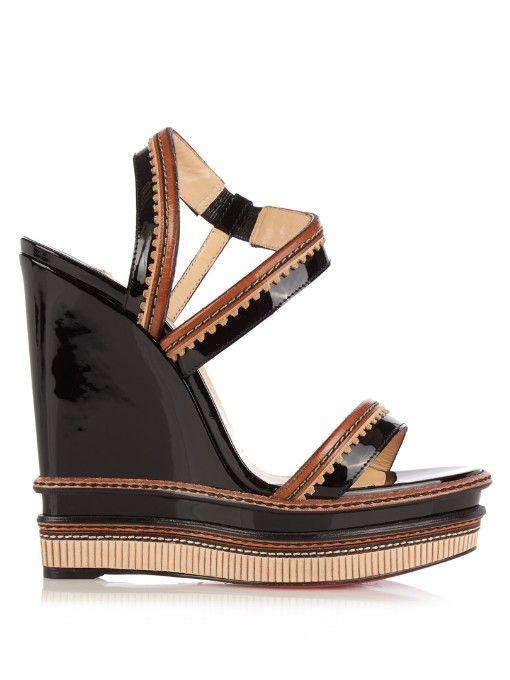 2cf2b89bda8 CHRISTIAN LOUBOUTIN Trepi 140Mm Patent-Leather Wedge Sandals ...