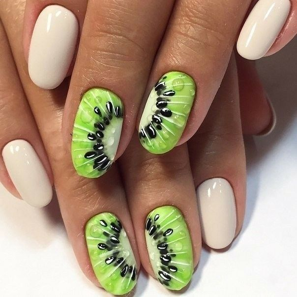 Photo of Kiwi. Accent nails. Green and white manicure.