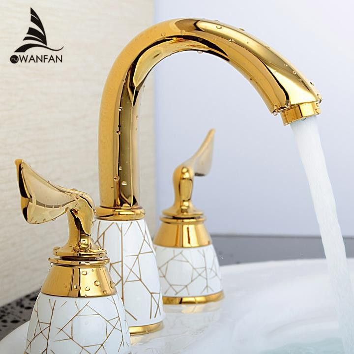 3 piece bathroom faucet. Luxury 3 Piece Set Faucet Bathroom Mixer Deck Mounted Sink Tap Basin  Golden Finish Ys 618K taps and Mixers