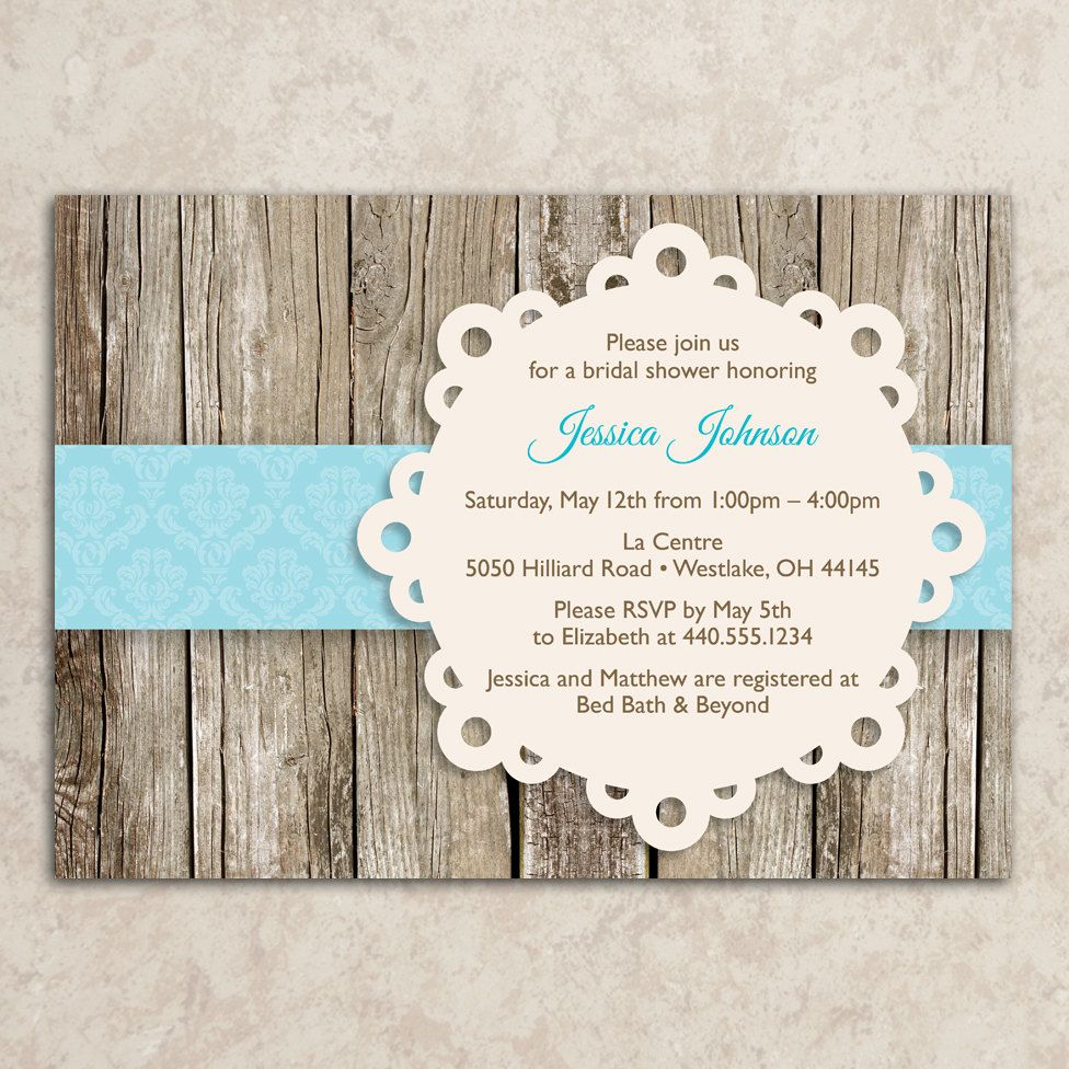 rustic bridal shower invitation - printable jpeg file - rustic, Wedding invitations