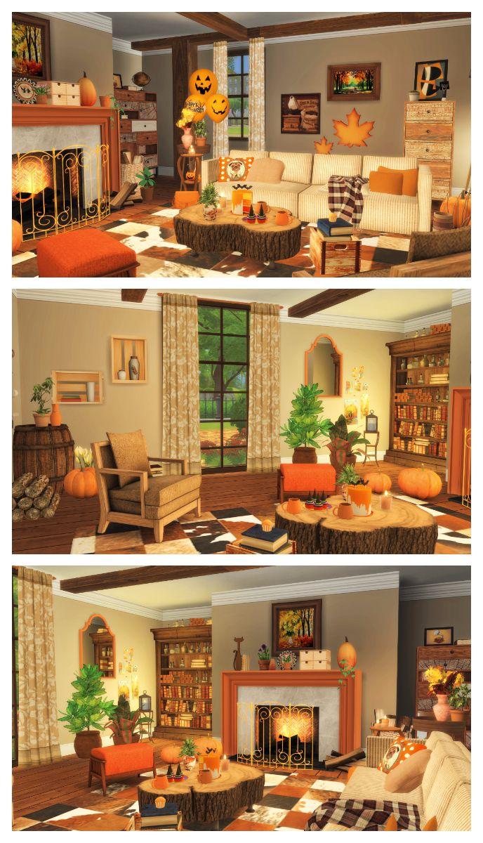 Autumn Living Room Decorating: SIMS 4 HALLOWEEN AUTUMN FALL LIVING ROOM Build + CC List